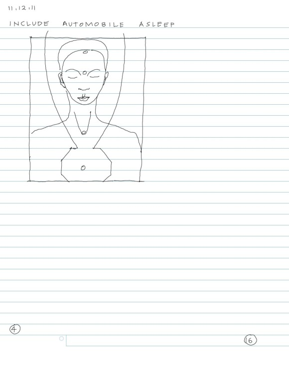 sketch of androgynous bust, eyes closed, dots on upper chakras