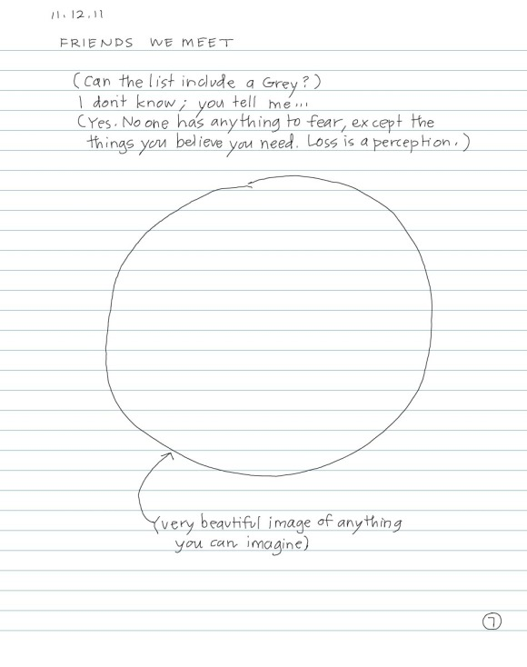 sketch of circle with note