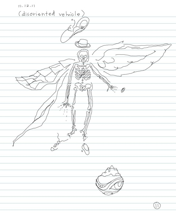 sketch of skeleton with wings, monk's robes, shoes and a hat
